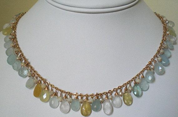 Aquamarine Briolette Necklace, Icy Blue & Yellow, Something Blue