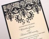 Damask Wedding Invitation Elegant Wedding Invitation - Floral Wedding Invitation - Vintage Invitation Black Ivory - Christina Sample