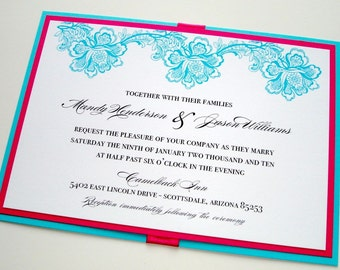 Mandy Floral Spring Wedding Invitation Sample - Turquoise, White, Hot Pink