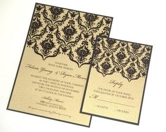 Brocade Wedding Invitation - Elegant Wedding Invitation - Vintage Wedding Invitation - Damask Invite - Black & Gold Invite - Felicia Sample
