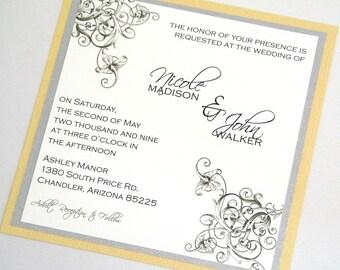 Nicole Floral Square Invitation Sample - Yellow, Silver Grey and White
