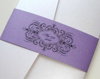Thalia Scroll Pocketfold Wedding Invitation Sample - Purple, White, Lavender, Black