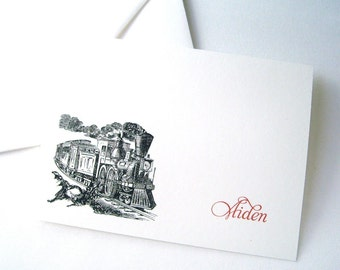 Train Boy Personalized Note Cards - Custom Stationery - Boy Gift - Christmas Gift - Personalized Gift - Black, Red and White - 10 Pack