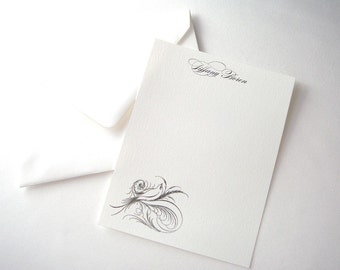 Bird Personalized Flat Note Cards - Holiday Gift - Christmas Gift - Stocking Stuffer - 12 Pack