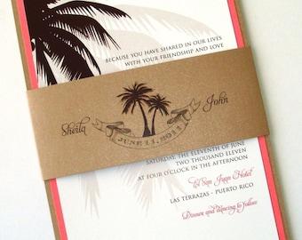 Beach Wedding Invitation - Palm Tree Invitation - Destination Wedding Invitation - Tropical - Tan, White, Brown and Coral - Sheila Sample