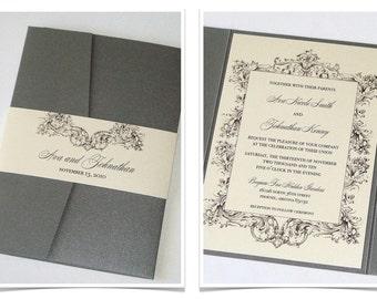 Rustic Wedding Invitation | Elegant Wedding Invitation | Romantic Invitation, Vintage Glam Wedding Invitation - Ivory Grey - Ava Sample