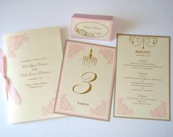 Eva Vintage Wedding Reception Stationery - Menus, Table Numbers, Wedding Program - Wedding Ceremony  - Place cards -  Ivory Pink Gold
