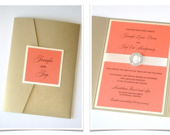 Jennifer Pocketfold Crystal Buckle Invitation Set Sample - Ivory, Champagne, Gold and Coral Peach