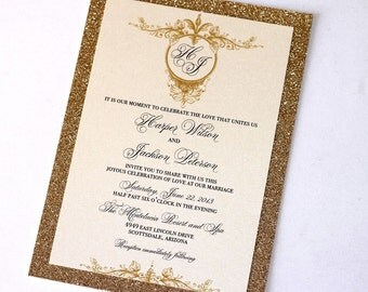 Glitter Wedding Invitation - Vintage Wedding Invitation - Elegant Wedding Invitation - Rustic Invite - Ivory Gold Glitter - Harper Sample