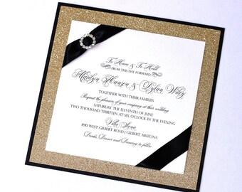 Glitter Wedding Invitation   Elegant Wedding Invitation   Black Tie Wedding  Invitation   Black U0026 Gold