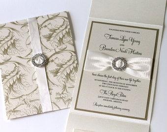 Elegant Wedding Invitation - Vintage Wedding Invitation - Romantic Wedding - Luxury Wedding Invitation - Ivory Gold Leaf - Tamara Sample