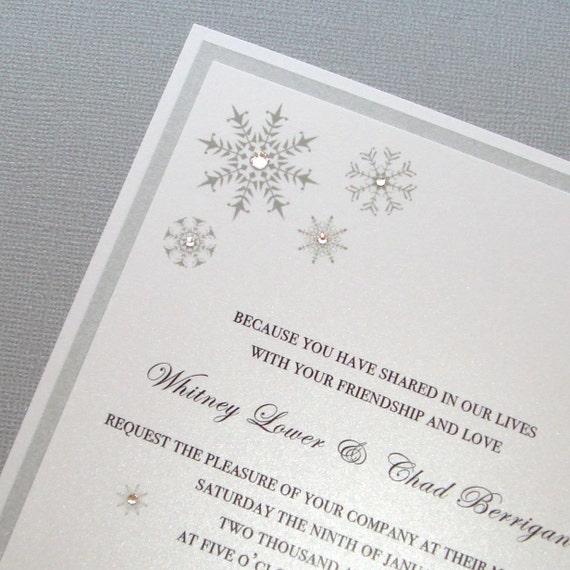 Whitney Snowflake Invitation Sample - Silver and White