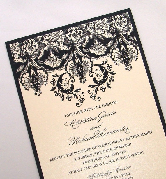 Damask Wedding Invitation Elegant Wedding Invitation - Floral Wedding Invitation - Vintage Invitation Black Ivory - Christina Sample