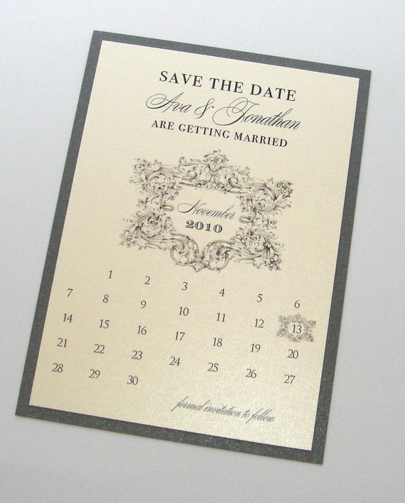 Ava Vintage Wedding Save the Date card - Vintage Wedding - Calendar Save the Date - Custom Wedding Card - Ivory and Pewter - Sample