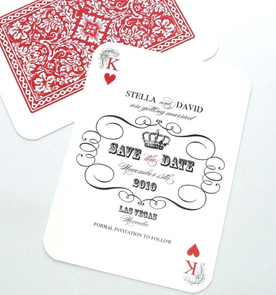 Las Vegas Wedding Save the Date, Casino Invitation, Playing card Invitation, Playing card Save the Date, Black White Red, Sample