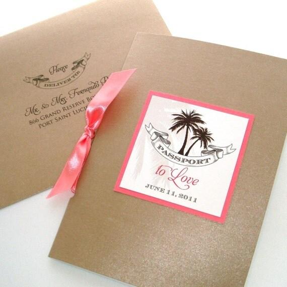 Sheila Passport Booklet Style Wedding Invitation Sample Tan