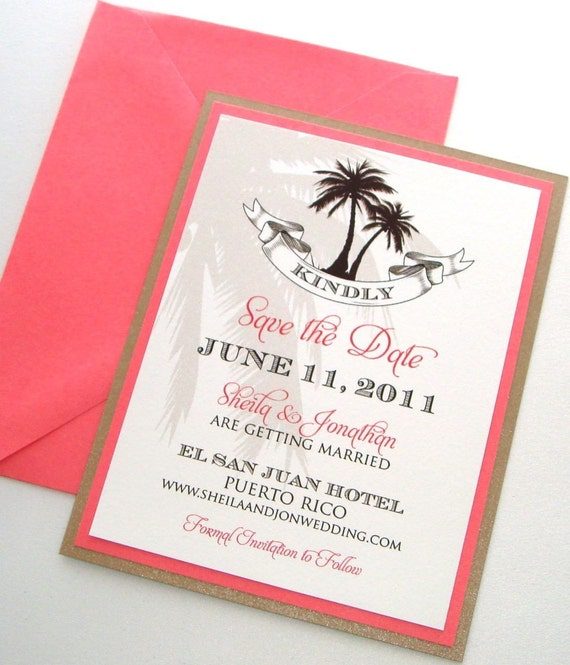 Sheila Destination Beach Wedding Save the Date Sample - Brown, Tan, Coral and White