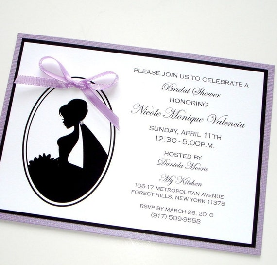 Bridal Shower Silhouette Invitation - White, Black, Purple