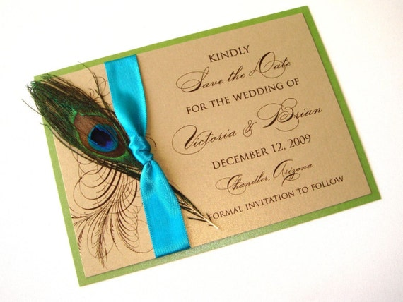 Victoria Peacock Wedding Save the Date Sample Gold