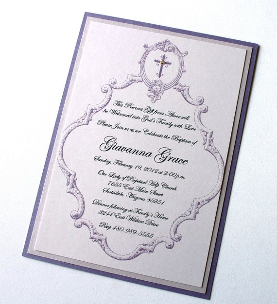 25 Giavanna Baptism Invitation - Christening Invitation - Baby Announcement - First Birthday Invitation - White, Lilac, Lavender Purple
