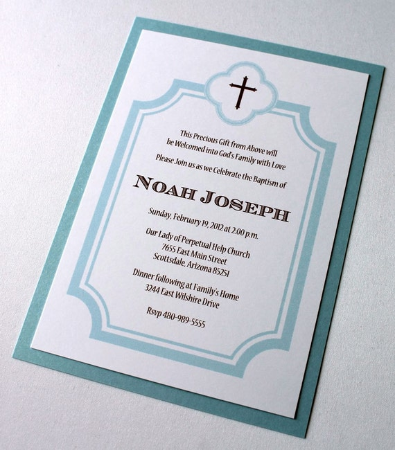 25 Noah boy Baptism Invitation - Christening Invitation - First Communion Invitation - Baby Announcement - Light Blue, Brown and White