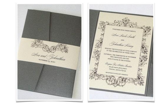 Vintage Wedding Invitation - Elegant Wedding Invitation, Romantic Invitation, Rustic Wedding Invitation - Ivory Grey - Ava Sample