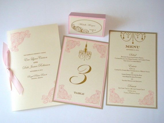 Eva Vintage Wedding Reception Stationery - Menus, Table Numbers, Wedding Program - Wedding Ceremony  - Place cards -  Ivory Pink Gold