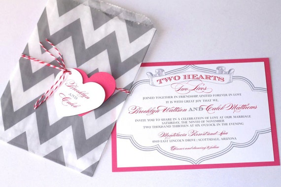 Brooklyn Wedding Invitation Sample - Chevron Design - Pink, Grey and White