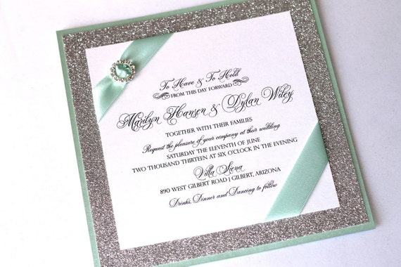 Marilyn Custom Glitter Wedding Invitation - Couture Invitation - Crystal Buckle - Silver Glitter, Mint Green and White - Sample