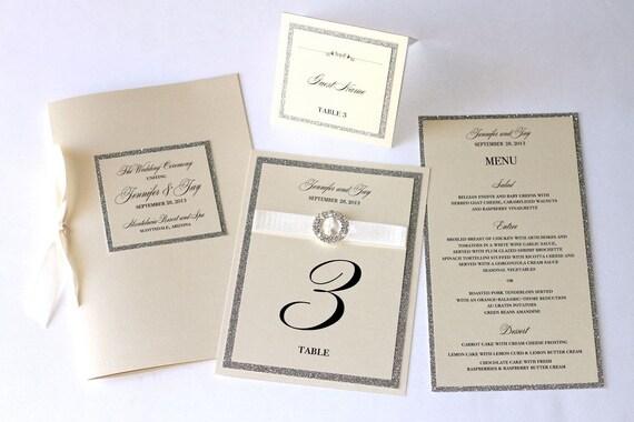Jennifer Wedding Reception Stationery - Glitter Menu, Glitter Table Numbers, Place Card, Ceremony Program - Sample set
