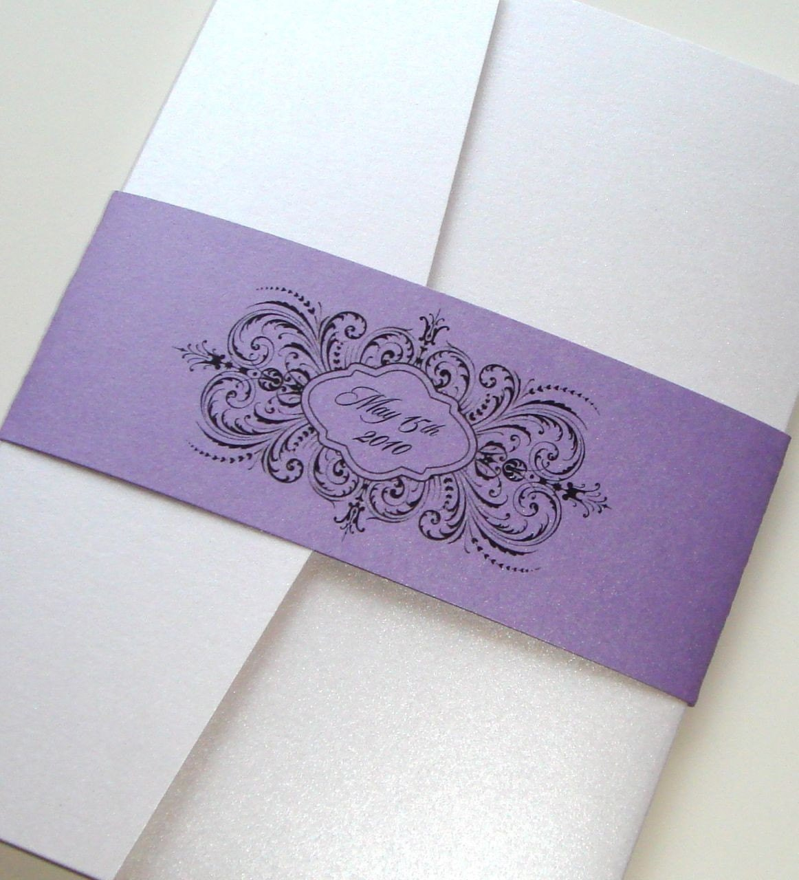 Thalia Scroll Pocketfold Wedding Invitation Sample Purple