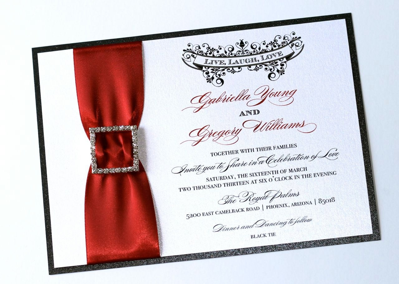 White And Red Wedding Invitations: Elegant Wedding Invitation Vintage Wedding Invitation