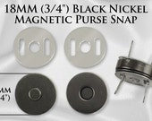 "10 Sets Magnetic Purse Snaps - Closures 18mm 3/4"" Black Nickel - Free Shipping (MAGNET SNAP MAG-122)"