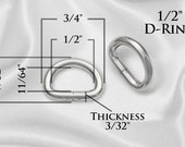 """20pcs - 1/2"""" Metal D Rings Dee Rings Non Welded Nickel - Free Shipping (D-RING DRG-100)"""