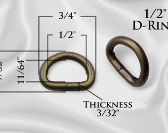 """300pcs - 1/2"""" Metal D-Rings Dee Rings Non Welded Antique Brass - Free Shipping (D-RING DRG-104)"""
