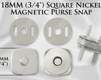 100 Sets Square Magnetic Purse Snaps - Closures 18mm Nickel - Free Shipping (MAGNET SNAP MAG-148)