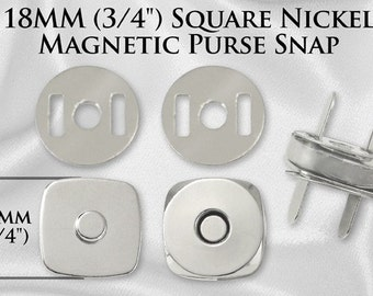 10 Sets Square Magnetic Purse Snaps - Closures 18mm Nickel - Free Shipping (MAGNET SNAP MAG-148)