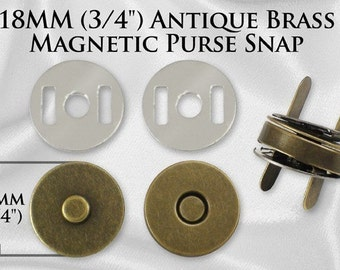 "20 Sets Magnetic Purse Snaps - Closures 18mm 3/4"" Antique Brass - Free Shipping (MAGNET SNAP MAG-120)"