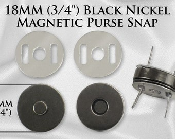 30 Sets Magnetic Purse Snaps - Closures 18mm Black Nickel - Free Shipping (MAGNET SNAP MAG-122)