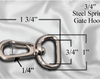 "10pcs - 3/4"" Metal Steel Spring Gate Hook - Nickel (METAL HOOK MHK-168)"