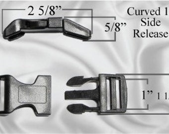 "30pcs - 1"" Curved Side Release Plastic Buckles - Free Shipping - (CURVED BUCKLE CBK-100)"