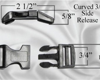 """100pcs - 3/4"""" Curved Side Release Plastic Buckles - Black - Free Shipping - (CURVED BUCKLE CBK-102)"""