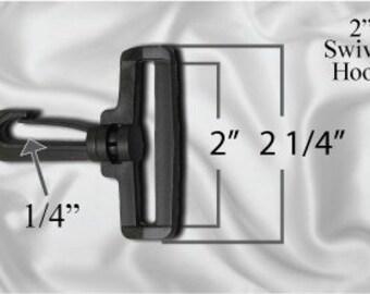 """100pcs - 2"""" Swivel Plastic Hook - Black - Free Shipping (PLASTIC HOOK PHK-100)"""
