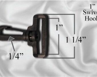 """10pcs - 1"""" Swivel Plastic Hook - Black - Free Shipping (PLASTIC HOOK PHK-106)"""