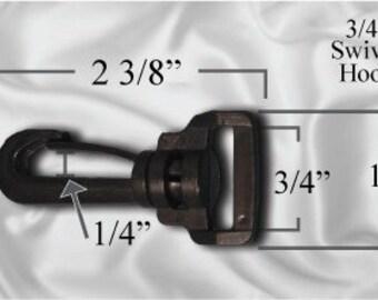 """10pcs - 3/4"""" Swivel Plastic Hook - Black - Free Shipping (PLASTIC HOOK PHK-108)"""