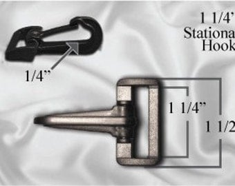"50pcs - 1 1/4"" Stationary Plastic Hook - Black (PLASTIC HOOK PHK-204)"