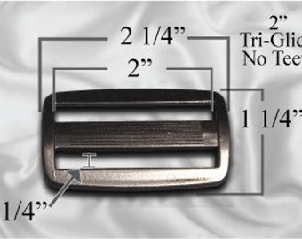 """10pcs - 2"""" Tri Glide No Teeth - Black Plastic - (PTG-100)"""