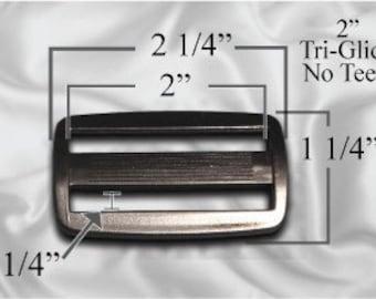 """50pcs - 2"""" Tri Glide No Teeth - Black Plastic - (PTG-100)"""