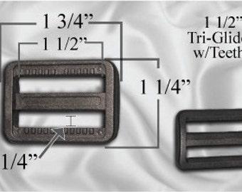 "10pcs - 1 1/2"" Tri Glide With Teeth - Black Plastic - (PTG-202)"
