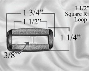 """10pcs - 1 1/2"""" Square Ring Loops - Black Plastic - (PSR-102)"""